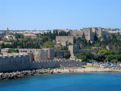 rhodes main beach and old town fortification