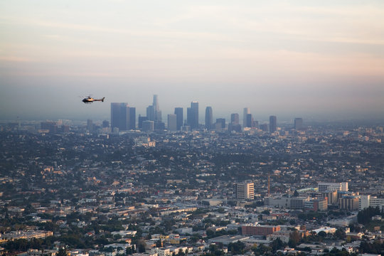 los angeles basin with helicopter