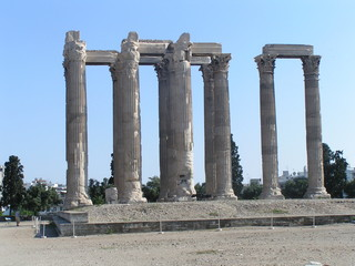 ruined columns in athens, greece