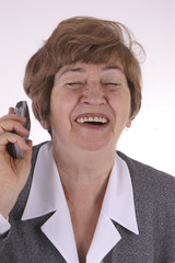 laughing on the phone