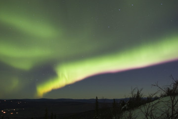 colorful aurora band in the night sky