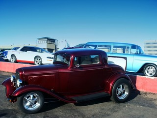 Wall Mural - classic red hot rod at a car show