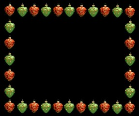 christmas frame . red and green hearts