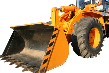bucket of the heavy building bulldozer of yellow color