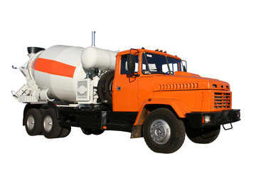 the new building lorry of red color with a concrete mixer