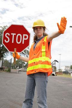road crew stop sign