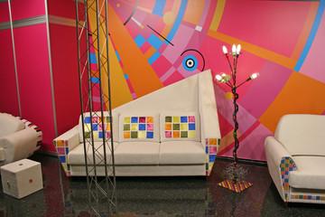 white sofa, color spots
