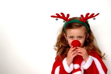 christmas rudolf the reindeer girl in fur