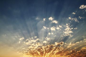sky evening. sun rays.