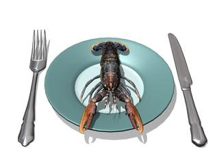 homard frais lobster assiette et couverts