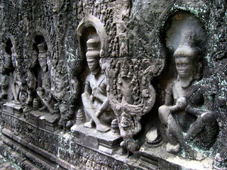 ancient carvings, cambodia