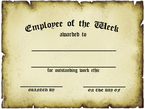 """employee of the week certificate"" Stock photo and royalty ..."