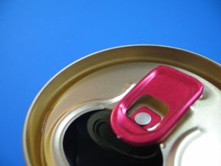 aluminium can on a blue background
