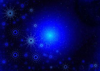 christmas blue card. magic light