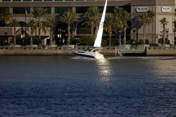 yacht through reflecton