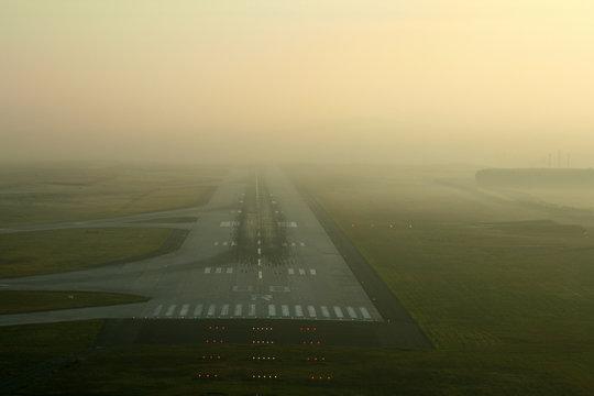 runway in the fog