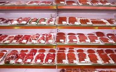 Deurstickers Vlees meat in shop