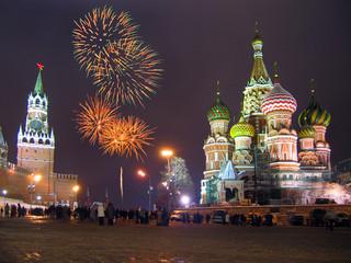fireworks moscow kremlin