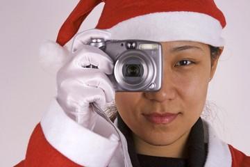 santa claus with camera