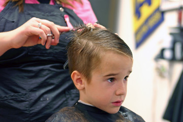 boy getting a haircut