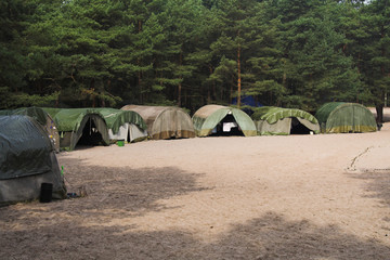 scout campsite at forest - poland