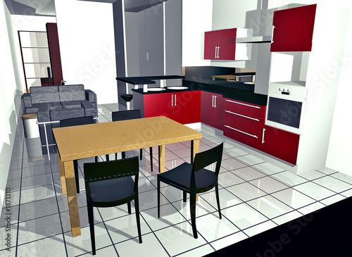Cuisine moderne design en 3d photo libre de droits sur la banque d 39 images image for Cuisine 3d sans telechargement