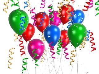 bunte ballons mit geschenkbändern