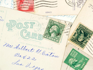 antique used postcards