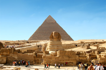Fotobehang Egypte sphinx and pyramid - egypt