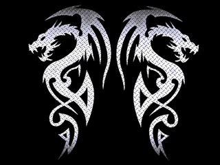 tribal dragons - steel