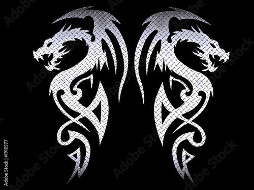 Fototapete tribal dragons - steel