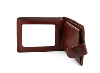 brown leather wallet with a blank space for credit