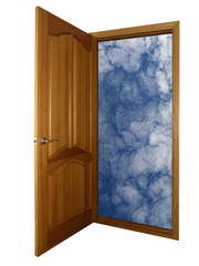 opened wooden door and heaven on white