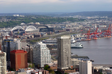 downtown seattle and seattle harbor