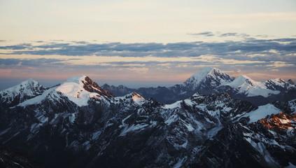 sunset in high mountain