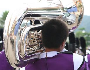 playing the trombone