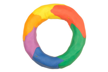 a doughnut shaped ring of colourful plasticine.