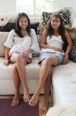happy sisters