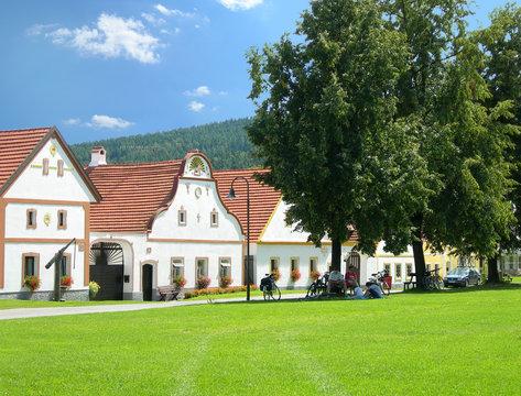 scenic village holasovice, south bohemia