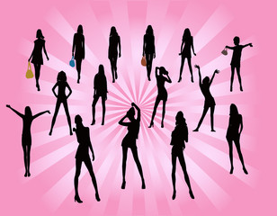 posing women - silhouette illustration