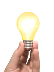 yellow light bulb in hand