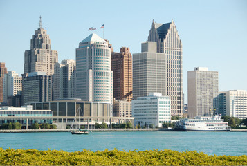 downtown detroit, michigan seen from canadian side