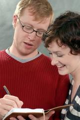 couple reading writing