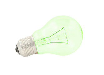 green bulb on pure white background