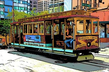 comic image of cable car in san francisco