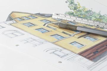 farbige architektur skizze