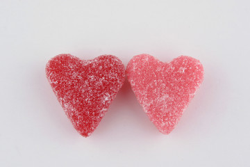 pair of heart candies