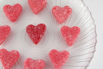 heart candy on glass