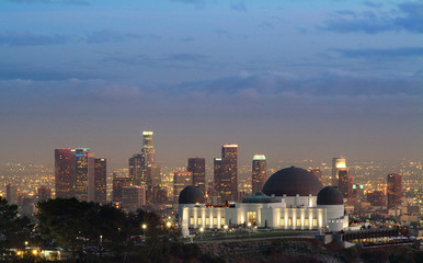 observatory at dusk and la skyline