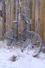 an old bike on a winter vacation